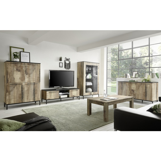 Manvos Wooden Highboard In Black Oak And Pero With 4 Doors_3