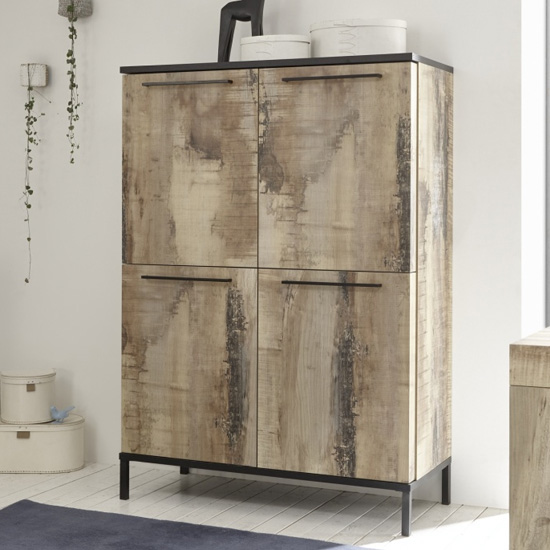 Manvos Wooden Highboard In Black Oak And Pero With 4 Doors