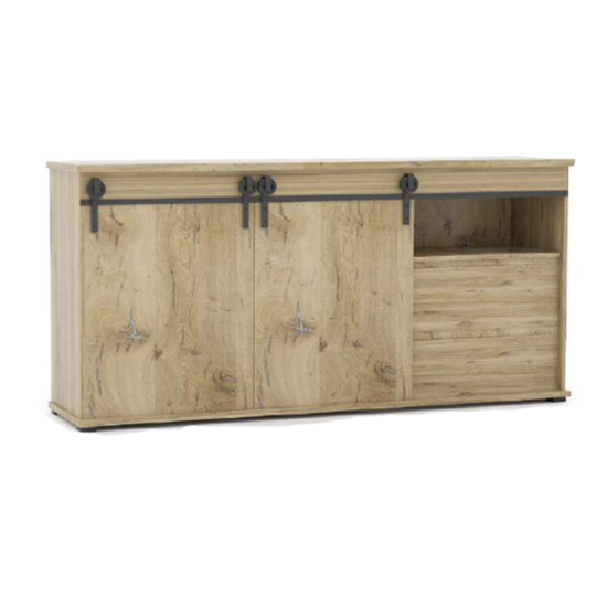 Manzag Large Wooden Sideboard In Flagstaff Oak And White