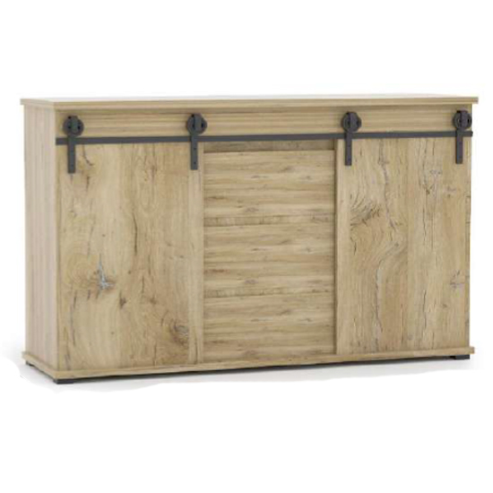 Manzag Wooden Sideboard In Flagstaff Oak And White