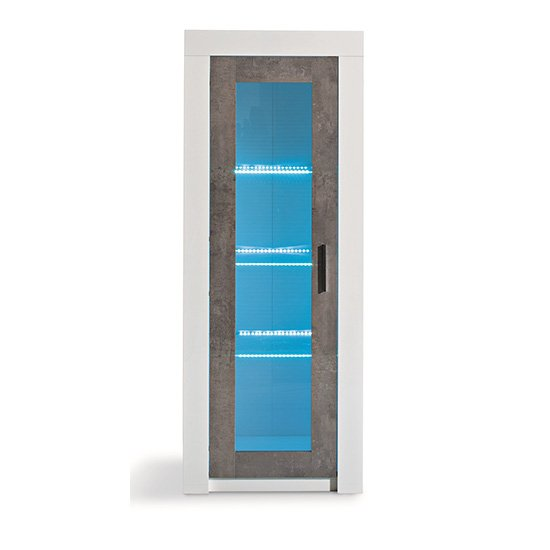 Mapar LED Gloss White Grey Marble Effect 1 Door Display Cabinet_2