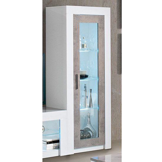 Mapar LED Gloss White Grey Marble Effect 1 Door Display Cabinet_1