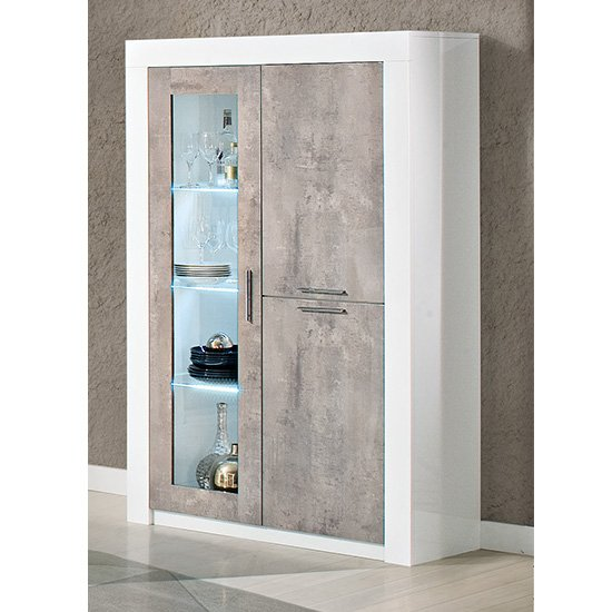 Mapar LED Gloss White Grey Marble Effect 2 Door Display Cabinet