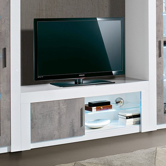 Mapar LED TV Stand In Gloss White And Grey Marble Effect