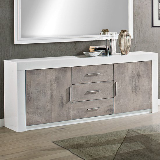 Mapar Wooden Sideboard In Gloss White And Grey Marble Effect