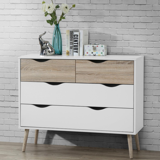 Mapleton Chest Of Drawers In White And Oak With 4 Drawers