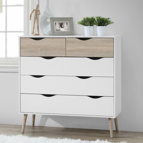 Mapleton Chest Of Drawers In White And Oak With 5 Drawers