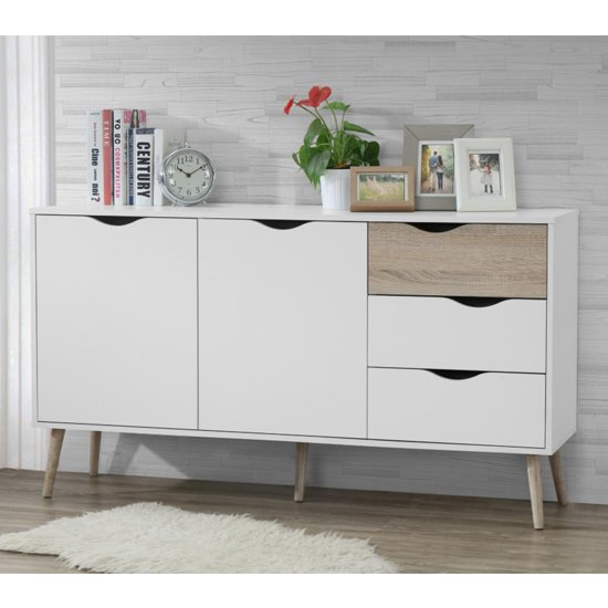 Mapleton Large Sideboard In White And Oak