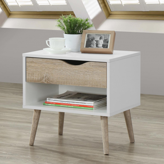 Mapleton Wooden Bedside Cabinet In White And Oak