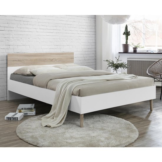 Mapleton Wooden King Size Bed Oak And White