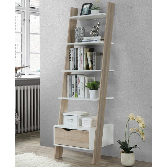Mapleton Wooden Ladder Bookcase In White And Oak Effect