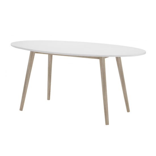 Mapleton Wooden Oval Dining Table In White And Oak
