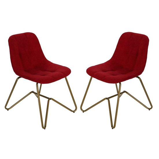 Marana Red Velvet Dining Chairs In A Pair