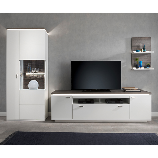 Marbella LED Living Room Furniture Set 2 In White And Amberg Oak