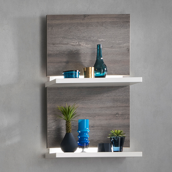 Marbella LED Wooden Wall Shelf In White And Amberg Oak
