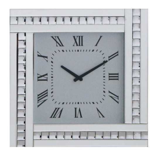 Modern Mirrored Glass Square Wall Clock In Silver