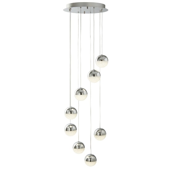 Marbles 8 Light LED Globe Multi Drop Ceiling Fitting In Chrome