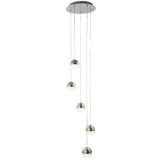 Marbles 5 Light LED Globe Multi Drop Ceiling Fitting In Chrome