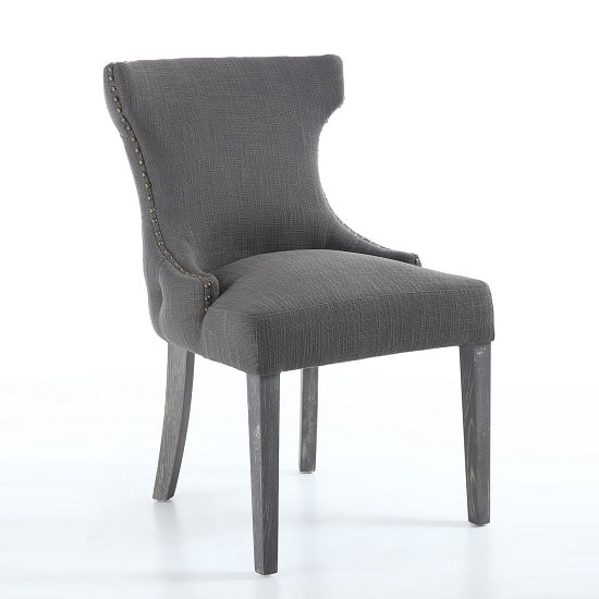 Marcel Fabric Dining Chair In Grey With Wooden Legs In A Pair_3