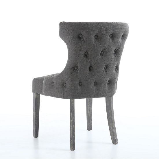 Marcel Fabric Dining Chair In Grey With Wooden Legs In A Pair_5