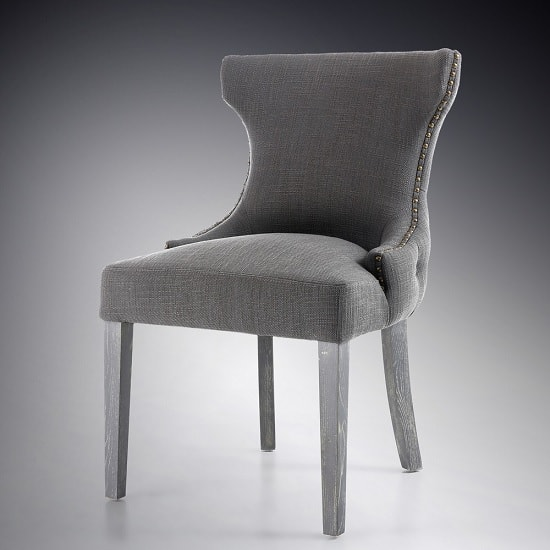 Marcel Fabric Dining Chair In Grey With Wooden Legs In A Pair_2