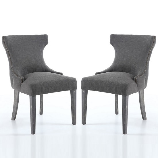 Marcel Fabric Dining Chair In Grey With Wooden Legs In A Pair_1