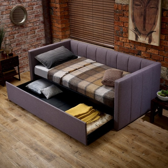 Marcello modern fabric sofa bed in grey with drawer 32497 for Grey divan bed with drawers