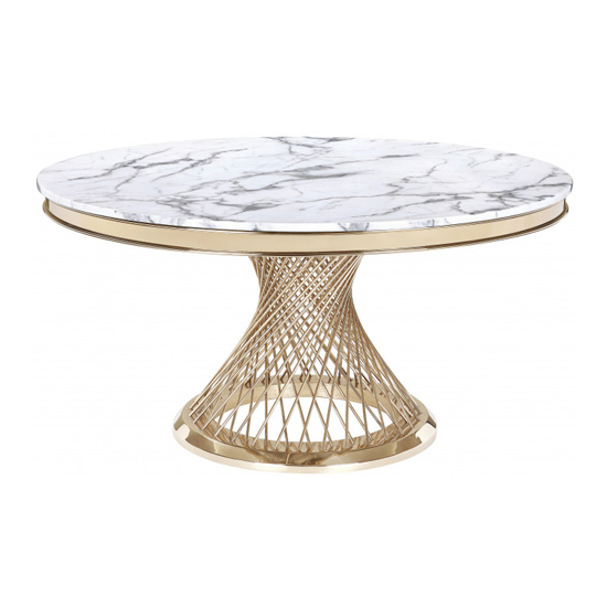 Marcelo Round White Marble Dining Table With Gold Base