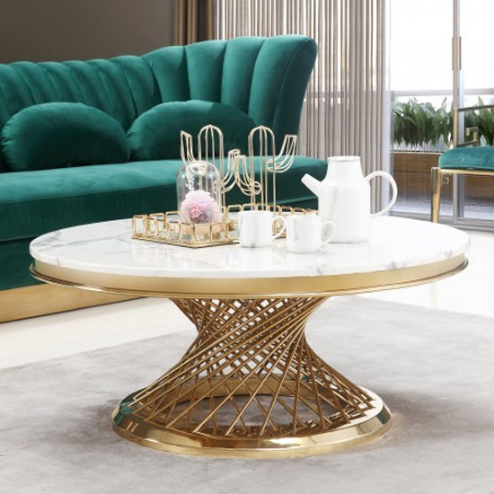 Marcelo White Marble Coffee Table With Gold Stainless Steel Legs