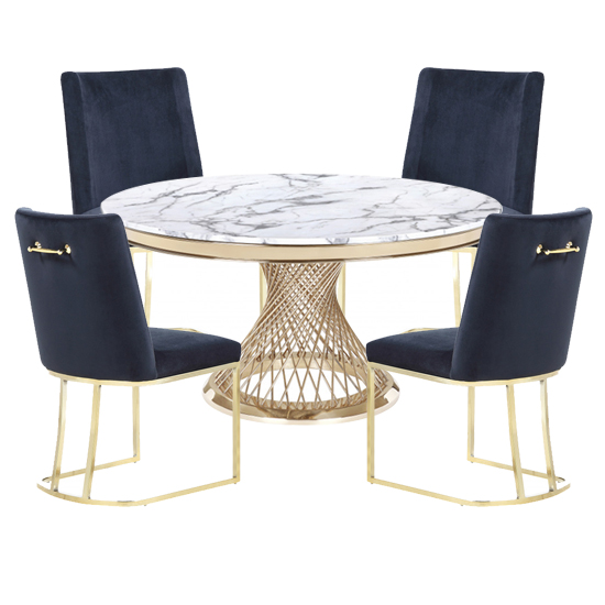 Marcelo White Marble Dining Set With 4 Black Milo Chairs