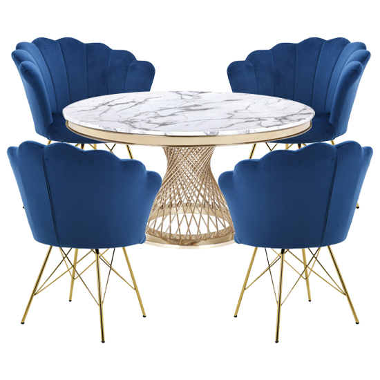 Marcelo White Marble Dining Set With 4 Blue Conrad Chairs_1