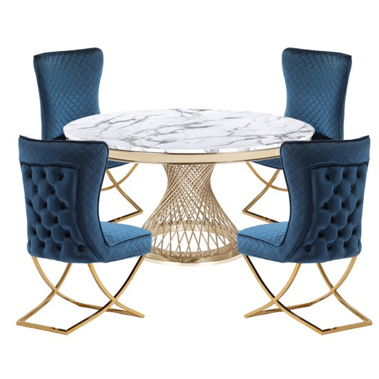 Marcelo White Marble Dining Set With 4 Blue Lorenzo Chairs_1