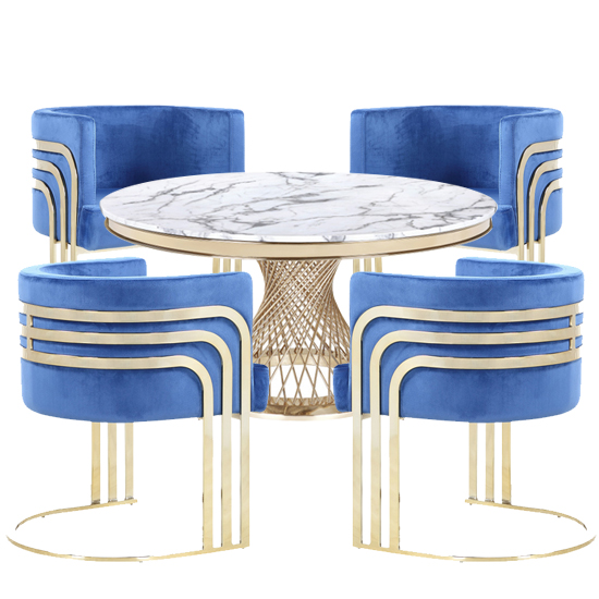 Marcelo White Marble Dining Set With 4 Blue Lula Chairs