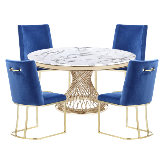 Marcelo White Marble Dining Set With 4 Blue Milo Chairs