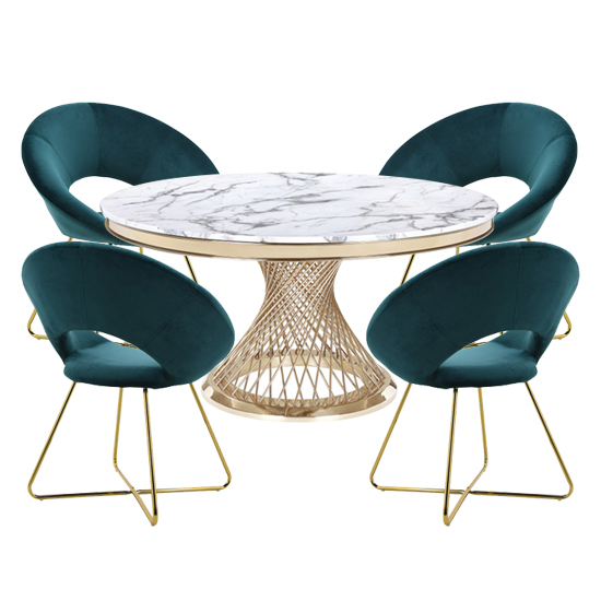 Marcelo White Marble Dining Set With 4 Green Barclay Chairs