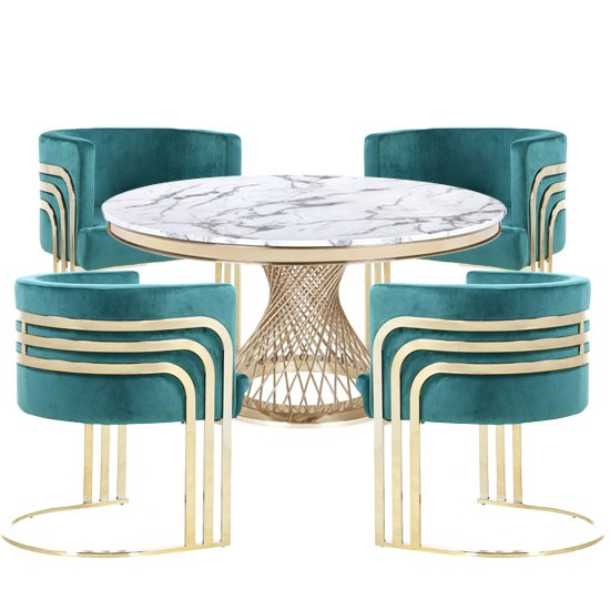 Marcelo White Marble Dining Set With 4 Green Lula Chairs