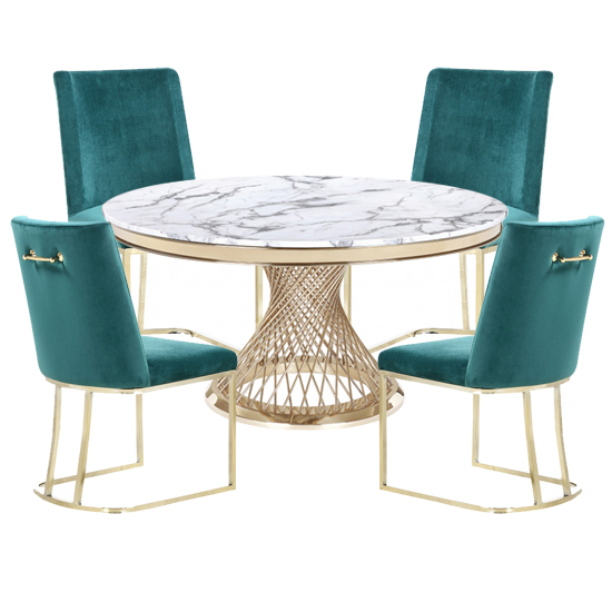 Marcelo White Marble Dining Set With 4 Green Milo Chairs