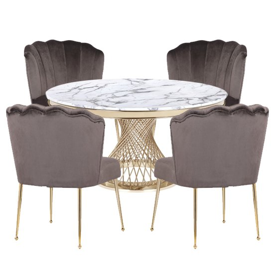 Marcelo White Marble Dining Set With 4 Grey Nora Chairs_1