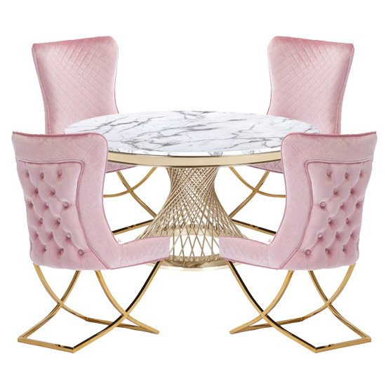 Marcelo White Marble Dining Set With 4 Pink Lorenzo Chairs