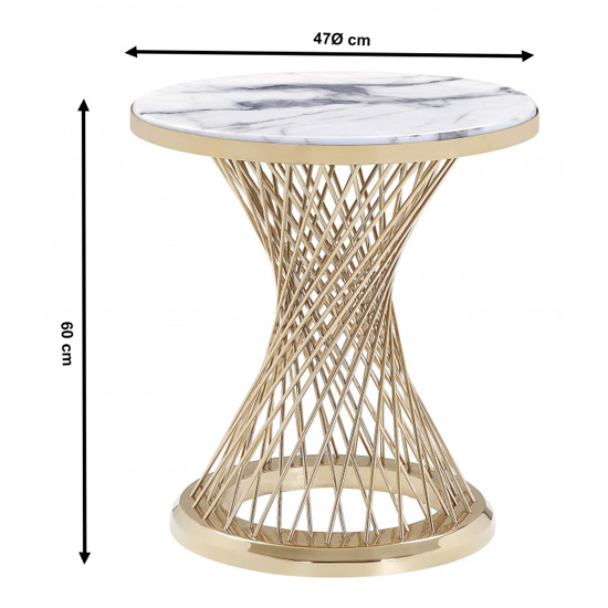 Marcelo White Marble Side Table With Gold Steel Base_3