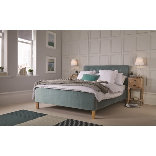 Marciel Fabric Double Bed In Aqua Velvet With Wooden Legs