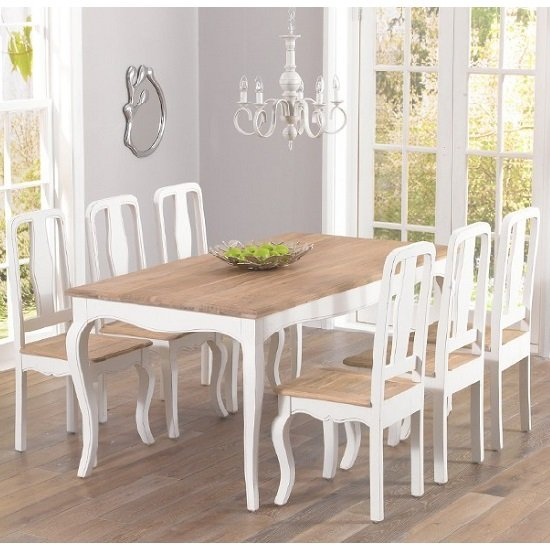 Marco Wooden Dining Table In Ivory With 6 Dining Chairs_1