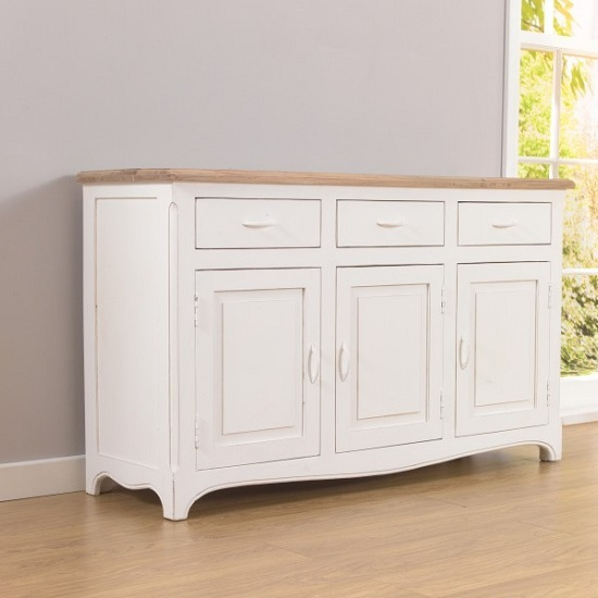 Marco Wooden Sideboard In Acacia And Ivory With 3 Doors