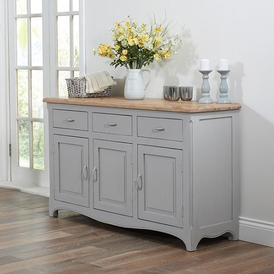 Marco Wooden Sideboard In Acacia And Grey With 3 Doors