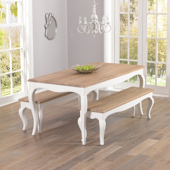 Marco Wooden Dining Bench In In Acacia And Ivory_3
