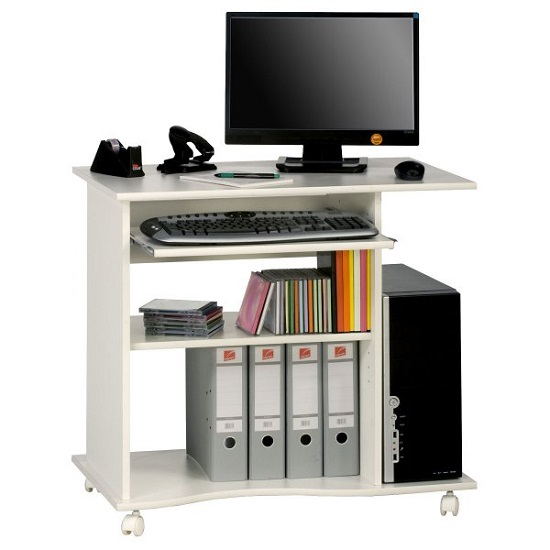 Marconie Wooden Computer Desk Trolley In White Finish