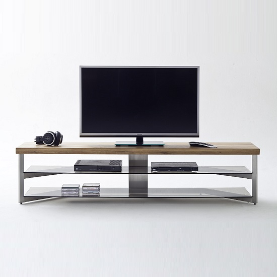 Marcos Large TV Stand In Solid Oak Top And Grey Glass_3
