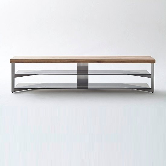 Marcos Large TV Stand In Solid Oak Top And Grey Glass_4