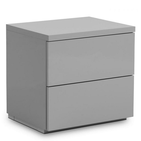 Marcus Bedside Cabinet In Grey High Gloss With 2 Drawers