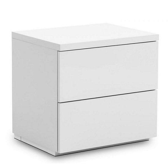 Marcus Bedside Cabinet In White High Gloss With 2 Drawers
